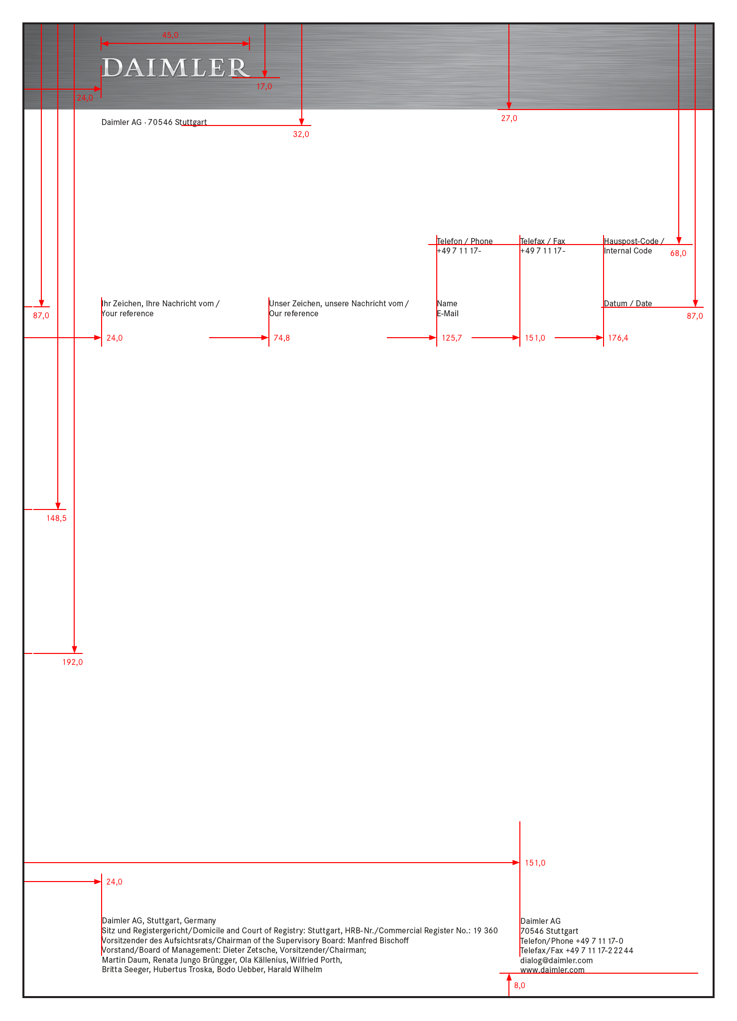 Vermassung Des Briefbogens Im Format DIN A4 Mit Bezugszeichen Alle Angaben In Mm